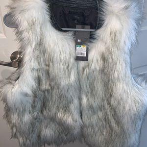 New White black and grey fur vest